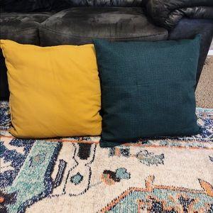 Two NEW Decorative Mustard Teal Polka Dot Pillows